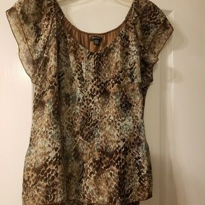 Pleated ruffle top by Piano size XL, in browns